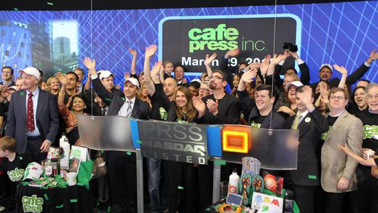 CafePress ringing the opening bell at the NASDAQ.
